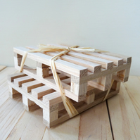 Solid Oak Miniature Pallet Coasters - Set of Two
