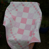 Pink cot quilt or play mat