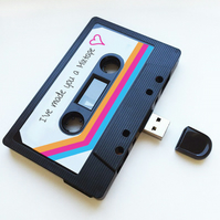16GB USB Mixtape-Retro - Girlfriend Gift- Quirky - Cute- Music Lover- Birthday