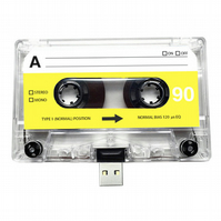 16GB USB Clear Mixtape-Retro Flash Drive- Quirky Gift - Music Lover