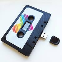 16GB USB RainBow Mixtape-Retro - Heart- Quirky Gift - Music Lover - Cute Present