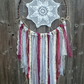 large vintage doily dream catcher with lace, ribbons and jute string