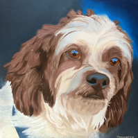 Dog portrait painting original animal art