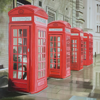 London wall art red telephone boxes original oil painting