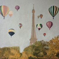 Paris hot air balloons Eiffel Tower original oil painting