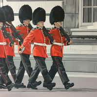 Queens guard soldiers marching original oil painting