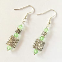 Faceted Green Glass and Silver Square Earrings