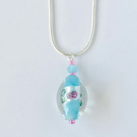 Silver and Aqua Lampwork with Roses Necklace