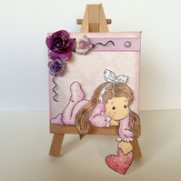 Cute Girl with Heart & Flowers Mini Canvas and Easel