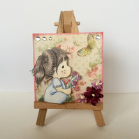 Cute Girl Holding Rose Bouquet Mini Canvas and Easel