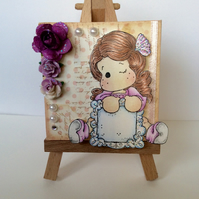 Sweet Little Girl with Plaque & Roses. Mini Canvas and Easel