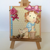 Sweet Girl with Seashells. Mini Canvas and Easel