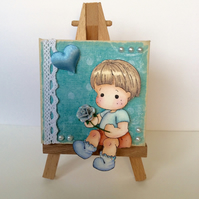 Sweet Boy with Rose and Heart Mini Canvas and Easel