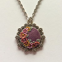 Shimmering Plum Floral Polymer Clay Applique Pendant