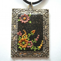 Orange, Pink & Yellow Wildflower Polymer Applique Clay Pendant