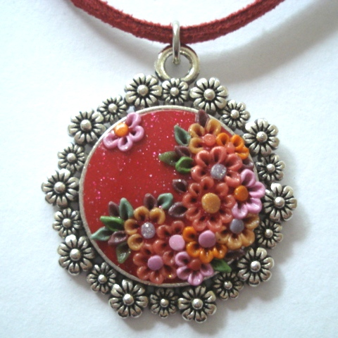 Vibrant Shimmering Red Floral Polymer Applique Clay Pendant