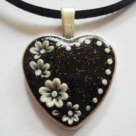 Shimmering Black & White Floral Heart Polymer Applique Clay Pendant