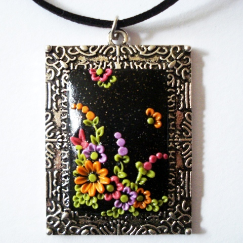 Shimmering Black Wildflower Polymer Applique Pendant