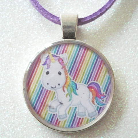 Unicorn Necklace. Sparkly Rainbow Colours