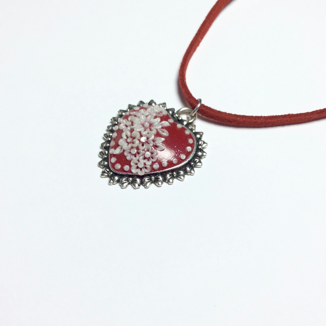 Sparkly Red Floral Heart Polymer Applique Pendant