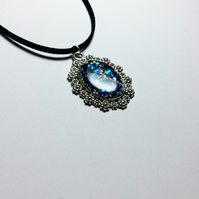 Sparkling Opal Effect Pendant with Aurora Borealis Glitters and Flakes