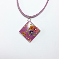 Shimmering Pink Floral Polymer Applique Clay Pendant