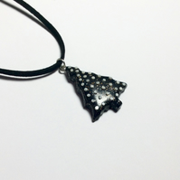 Shimmering Black Christmas Tree with Snowballs Polymer Clay Pendant