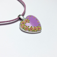 Shimmering Mauve Floral Polymer Applique Clay Pendant