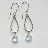 Faceted Aquamarine Briolettes on Hammered Sterling Silver Drops