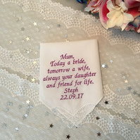 Mother of the bride embroidered wedding handkerchief personalised
