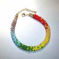 Kumihimo Beaded Rainbow Bracelet