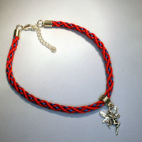 Kumihimo Anklet with Fairy Charm