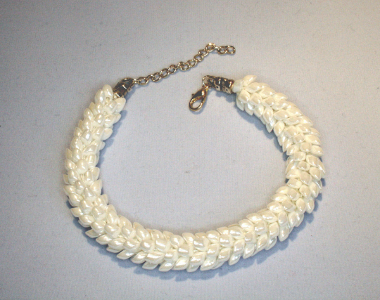 Dragon Scale Kumihimo Bracelet White