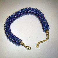 Dragon Scale Kumihimo Bracelet Blue