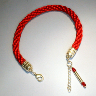 Kumihimo Anklet Red
