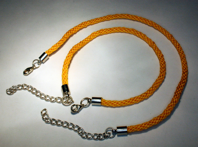 Kumihimo Bracelet and Anklet Set