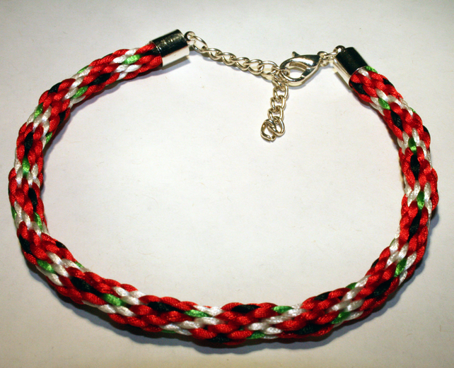 Kumihimo Bracelet Poppy with Leaf  To Order