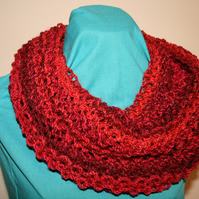 Hand Knit Loose Cowl Rusty Red