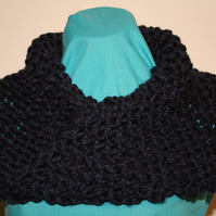 Hand Knit Chunky Infinity Cowl, Dark Blue