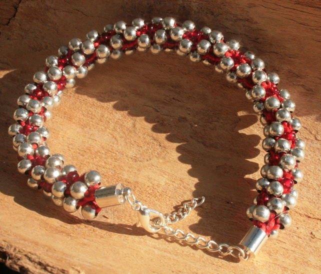 Kumihimo Bracelet Beaded Silver,Red
