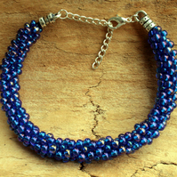 Beaded Kumihimo Bracelet Blue Variegated