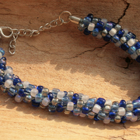 Kumihimo Bracelet Beaded (Multi,Blue,White)