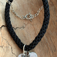 Kumihimo Choker with Heart and Butterfly Charms