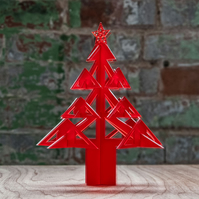 Frosted red Perspex Christmas tree, Laser cut.