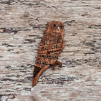 Owl, Autumnal brooch, laser cut.
