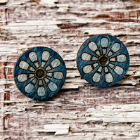 Daisy flower earrings - Blue