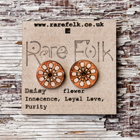 Daisy flower earrings - Orange