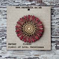 Wooden, burgandy, Aster flower brooch, laser cut jewellery.