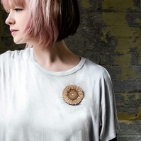 Wooden Aster flower brooch, laser cut jewellery.