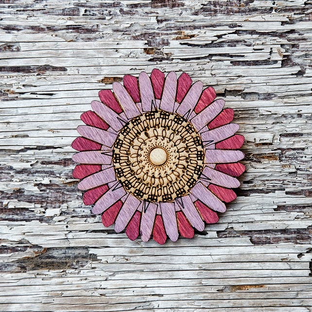 Wooden, pink, Aster flower brooch, laser cut jewellery.